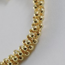 18K YELLOW GOLD BRACELET BIG BASKET MESH, 4 CIRCLES ROLO ROWS, MADE IN ITALY