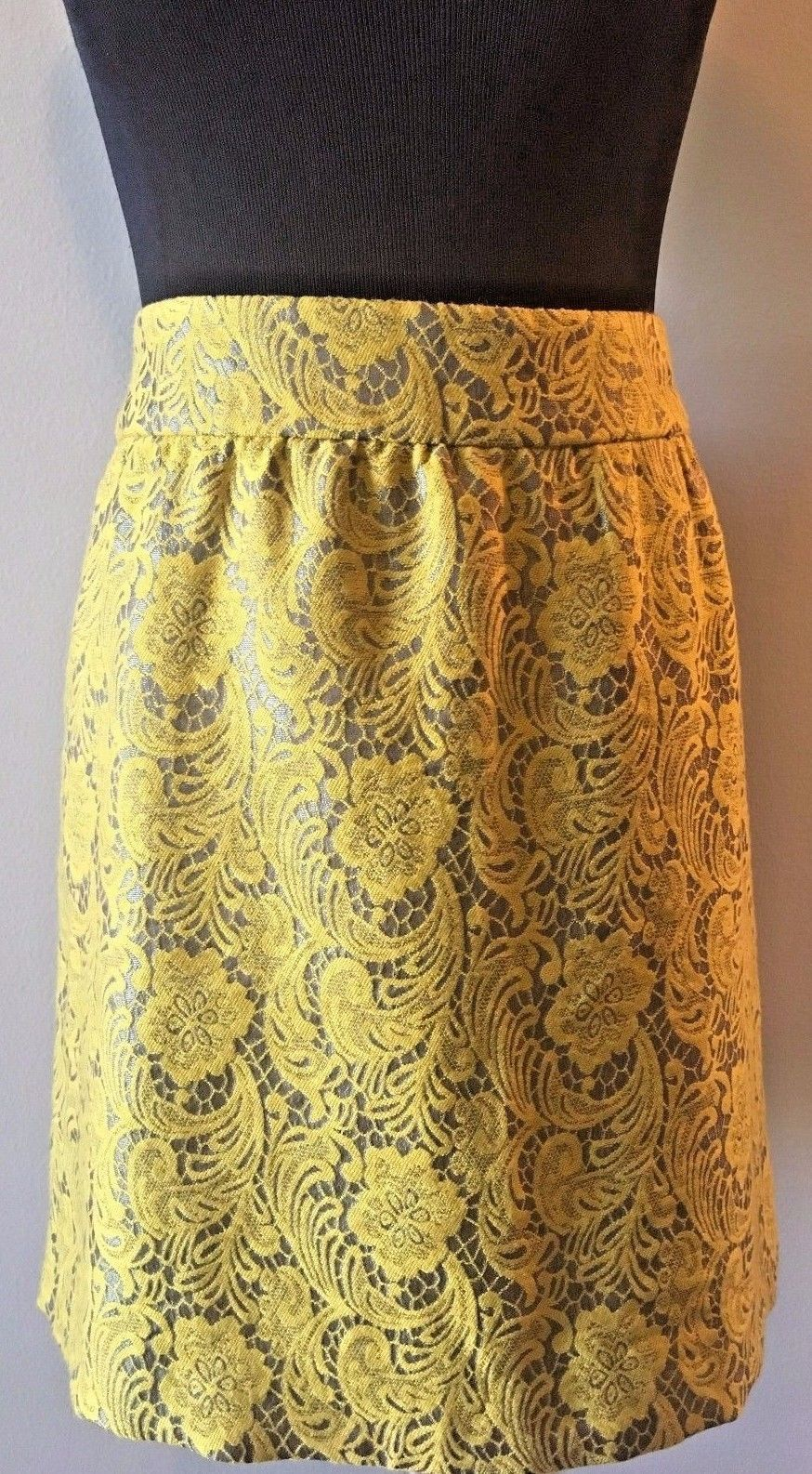 e0eb778e2a S l1600. S l1600. Previous. Banana Republic Yellow and Gray Lace Floral  Mini Lined Short Skirt size ...