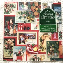 VTG Hallmark Christmas Gift Wrap Wrapping Paper Victorian Cards Candy Nu... - $23.16