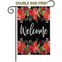 ZUEXT Welcome Home Rose Fall Outdoor Cotton Linen Garden Flag, Double Si... - $9.86