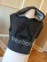 Athletic Crop Top Reebok Pullover Gray Womens XS Hoodie Sweatshirt - $12.86