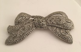 Vintage Circa 1980s 1928 Large Silver Plate Cut Steel looks marcasite Bo... - $11.83