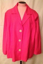 Evan Picone Pink Blazer Jacket 24W Large Buttons Rayon Blend Lined Long ... - $28.04