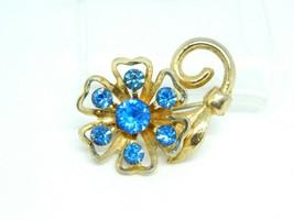 Gold Tone CORO Blue Rhinestone Flower Pin Brooch Vintage - $24.74