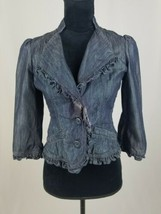 Idra Anthropologie women 4 lightweight denim jacket ruffled hem 3/4 sleeve  - $24.75