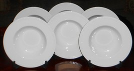 Set (6) Crate & Barrel STACCATO PATTERN Rimmed Soup Bowls KATHLEEN WILLS - $55.43