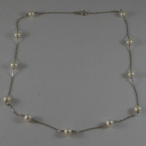 SOLID 18K WHITE GOLD NECKLACE WITH FRESHWATER WHITE PEARL MADE IN ITALY 17,91 IN image 2