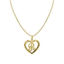 14k Yellow Gold Diamond-cut Heart-shaped Initial Letter 'R' Pendant  Rol... - $184.00+
