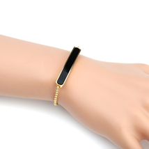 United Elegance Trendy Gold Tone Designer Bolo Bar Bracelet With Jet Black Inlay - $19.99