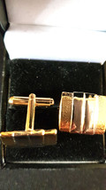 gold cufflinks striped with diamond cut brushed and shiny design,  in gift box