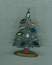 Stand Up Mini  Green Clear Navette   Christmas Tree Rhinestones Czech  - $18.39