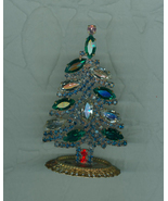 Stand Up Mini  Green Clear Navette   Christmas Tree Rhinestones Czech  - $22.99