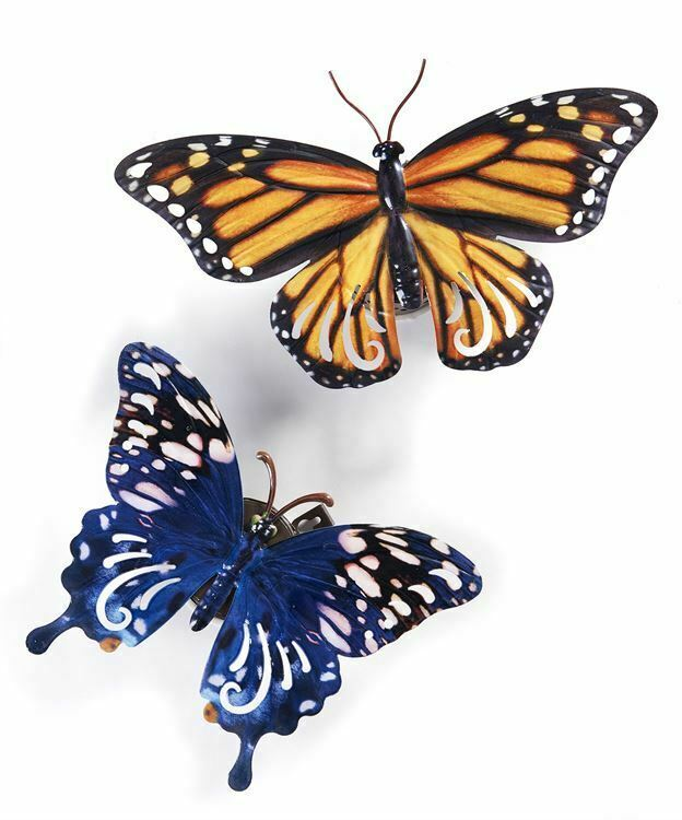 Set of 2 LED Light UP Butterfly Design Wall Plaques - Orange Blue Metal