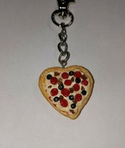 Heart Meat Lover's Pizza Clay Pizza Charm Keychain Pepperoni Cheese - $7.50