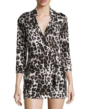 Diane von Furstenberg Celeste Snow Cheetah Large wrap dress,cotton and s... - $99.00