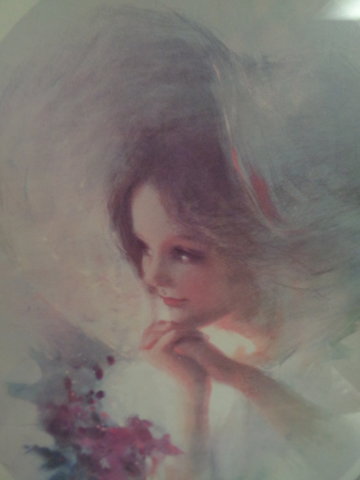 Home Interiors Picture Victorian Woman in Bonnet with Flowers Homco - $99.95