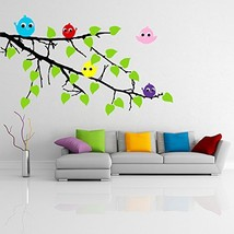 ( 24'' x 16'') Vinyl Wall Colorful Decal Tree Branch with leaves and Five Cute B - $23.29