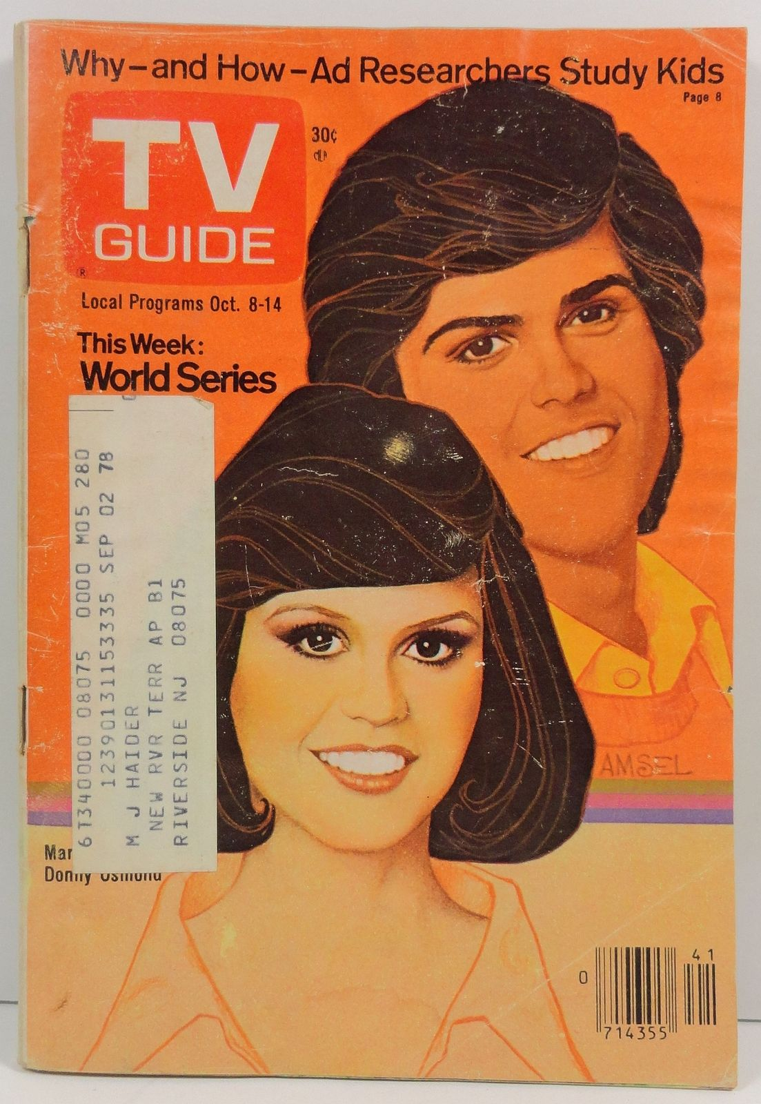 TV Guide Magazine October 8, 1977  Donny and Marie Osmond