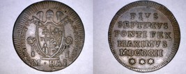 1802-IIR Italian States Papal States 1/2 Baiocco World Coin - Pius VII - $59.99