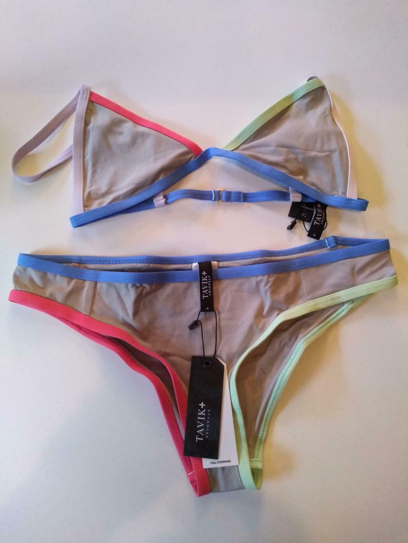 Tavik Color Blocked Sand Full Coverage Bikini Set Size Medium