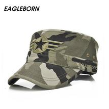 2018 Army Flat Top Mens Caps Hat Adjustable Star embroidery Solid Cotton... - $20.67