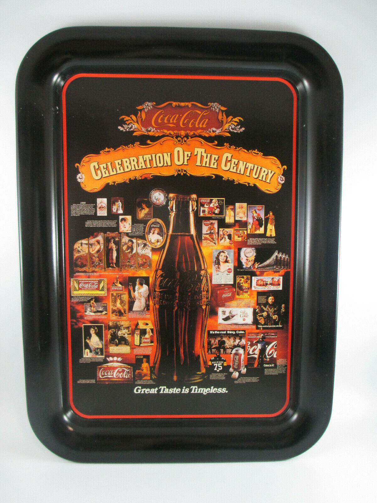 Primary image for Coca-Cola Tin Tray Celebration of the Century Issued 1986 Black Excellent