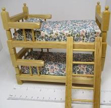 DOLLHOUSE Bunk Bed or Twin Set w Mattresses & Ladder Oak G9313O Miniature - $21.62
