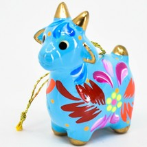 Handcrafted Painted Ceramic Blue Goat Country Farm Confetti Ornament Made Peru image 2