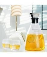 Glass Water Pitcher Holder Server Dip Free Carafe Hot Cold Drinks Storag... - $34.30