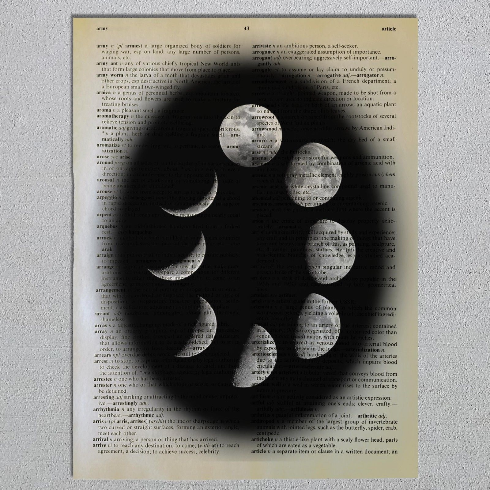 Cycles Of the Moon Waxing Waning Moon Phases Astronomy Dictionary Page Art Print