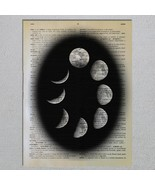 Cycles Of the Moon Waxing Waning Moon Phases Astronomy Dictionary Page A... - $11.00