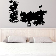 ( 63'' x 45'' ) Vinyl Wall Decal World Map Game of Thrones with Castles / Atlas  - $72.93