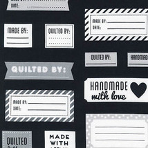 Robert Kaufman Made For You Quilt Labels Black 100% cotton fabric by th... - $12.73