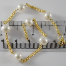 9K YELLOW GOLD BRACELET WITH WHITE PEARLS 7 MM 19 CM, 7.5 INCHES MADE IN... - $114.00