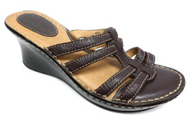 BORN Size 9 B.O.C. Brown Leather Slide Wedge Sandals Shoes - $22.50