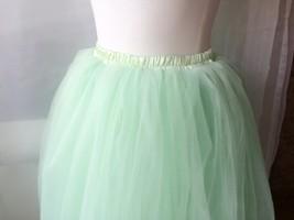 Mint Green Tulle Midi Skirt Ballerina Tulle Skirt Plus Size Knee Length image 3