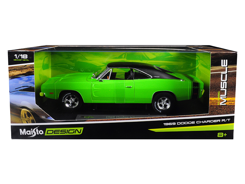 1969 Dodge Charger R/T Green with Black Top 1/18 Diecast Model Car by Maisto - $64.98
