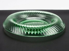 Imperial Twisted Optic Green Rolled Edge Console Bowl, Vintage Depressio... - $19.60