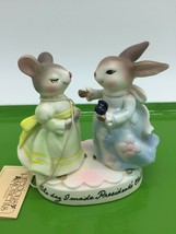 AVON 1980 THE DAY I MADE PRESIDENT'S CLUB FIGURINE BUNNY & MOUSE LADIES - $4.99
