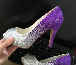Classic Women Peep Toe Heels Purple&Silver Crystal Bridal Shoes Bride Br... - $125.00