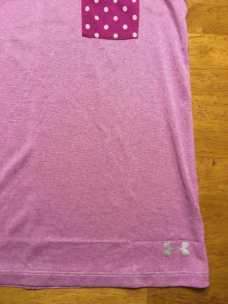 NWT Under Armour Girl's Purple Striped Heatgear Loose Tank Top - Size: Large image 6
