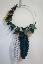 Teal and Grey Feather Macrame Hoop Wall Hanging - $50.00