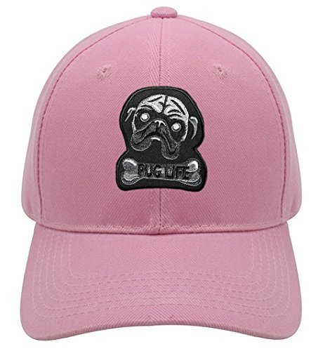 Pug Life Hat - Pink Adjustable Womens - Dog Owner Lover Cap