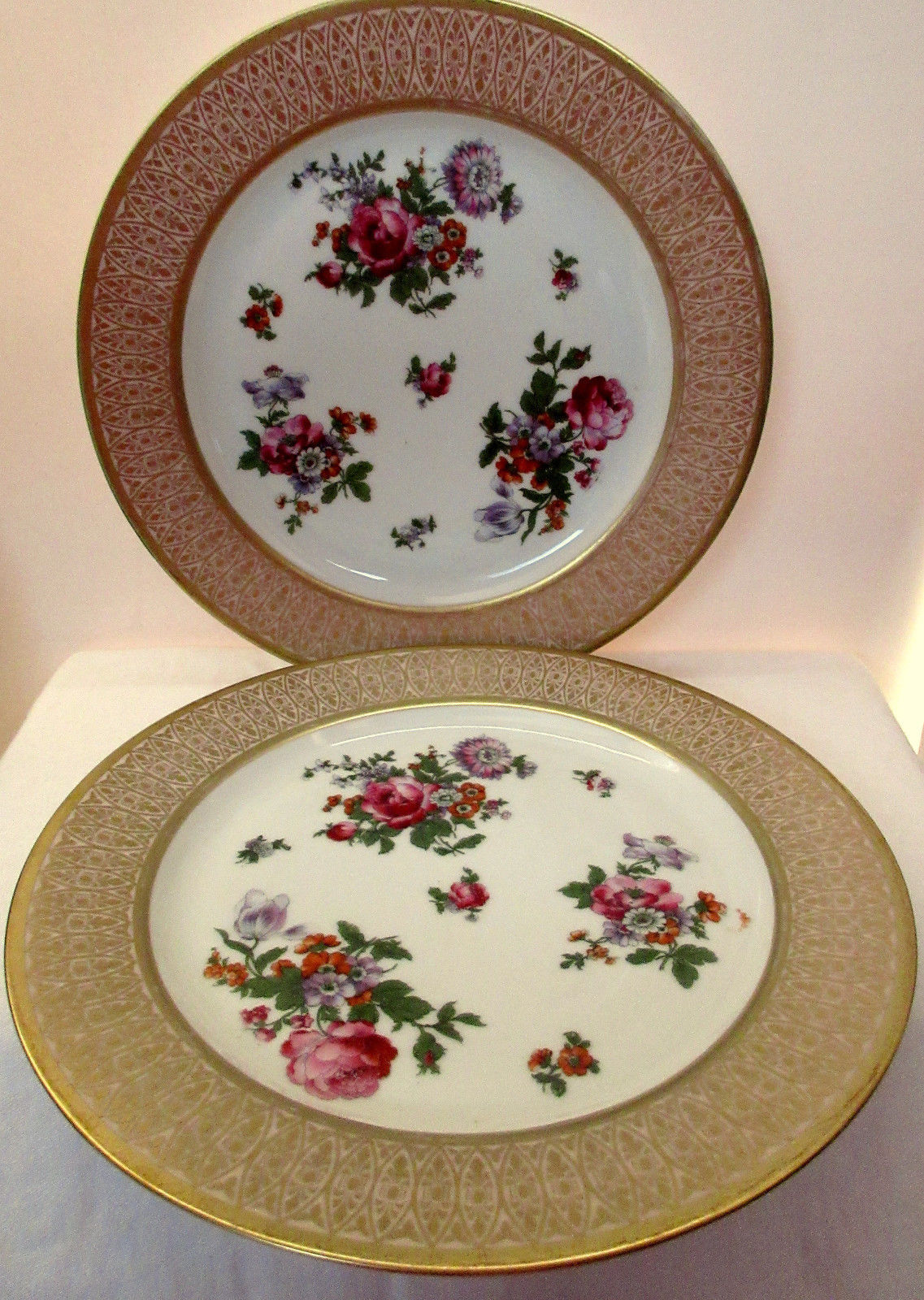 ... Vintage Dinner Plates Two (2) Bavaria P.T. Tirschenreuth Gold Rimmed Floral & Vintage Dinner Plates Two (2) Bavaria P.T. and 18 similar items