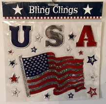 Bling Clings USA FLAG & STARS Patriotic American Glitter Window Decorati... - $5.94