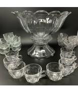 "Heisey COLONIAL CLEAR 2 Piece Punch Bowl With Stand 14x11"" & 23 Cups (8 ... - $284.99"
