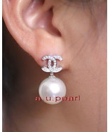 CC Top 14K GOLD 11-12MM NATURAL real round SOUTH SEA white PEARL EARRINGS - $557.17