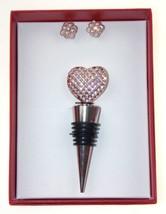 Gold Heart Wine Gift Box Set Boxed Bottle Stopper Faux Pearl Earrings Je... - $4.99