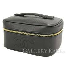 CHANEL Vanity Bag Caviar Leather Black Cosmetic Pouch A01997 Authentic 5... - £445.45 GBP