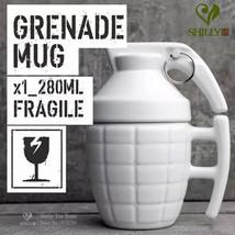 Grenade mug black white stereoscopic 3D cup lid - $33.95